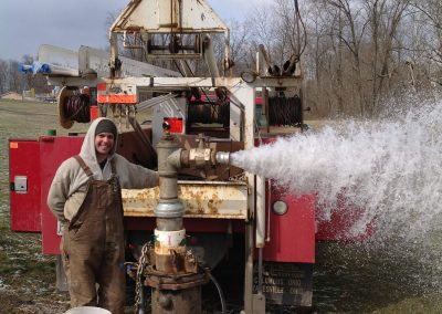 Test pumping large diameter municipal water well after well cleaning and new pump installation