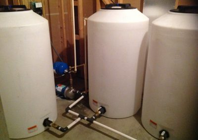 Water storage and booster pump